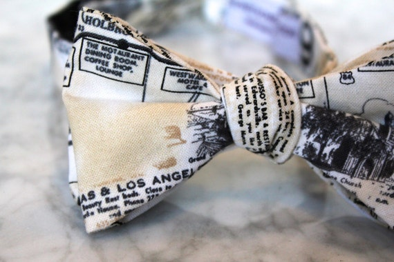 California Highways Bow tie - Groomsmen and wedding tie - clip on, pre-tied with strap or self tying