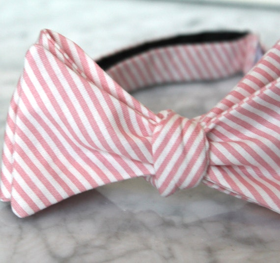 Bow tie or necktie in tiny coral stripes- Groomsmen and wedding tie -clip on, pre-tied with strap or self tying - wedding ring bearer outfit