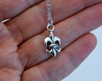 Silver Fleur-de-lis Charm Necklace, French Paris France vintage pendant travel birthday anniversary gift for her girlfriend