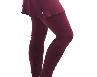 XL Fig Plum Maroon Yoga Leggings Shirred Ankle-Length Ruched Long Tights with Mini Skirt