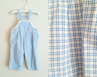 Vintage 1960s Girls' Blue Plaid Overalls / Longalls / 9 Months