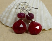 Natural Ruby Earrings Wire Wrapped Dangle Earrings  Gemstone Wire Wrapped Teardrop Earrings Gemstone Jewelry