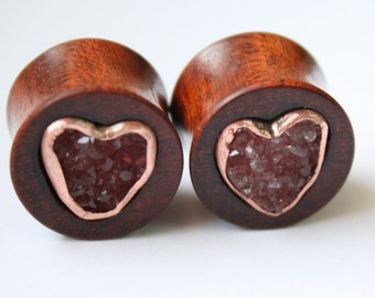 """SALE 5/8"""" Pink Druzy, Copper and Bloodwood Inlay Plugs"""