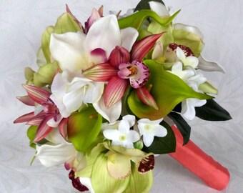 Orchid Bridal Bouquet Destination wedding flowers silk flower bouquet set