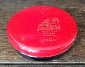 Vintage French Tin Box Red Black Bonbon Dabo trinket jewellery jewelry circa 1970's / English Shop