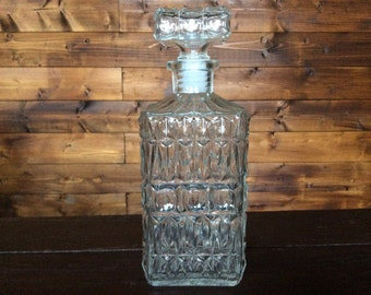 Vintage French Glass Spirits Decanter circa 1970's / English Shop