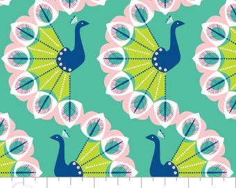 Peacock Garden Wavy Train in Spearmint by Jane Farnham for Camelot Fabrics