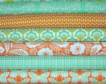 Fat Quarter Bundle of 8 from the Clementine Collection in Orange and Teal by Heather Bailey for Free Spirit