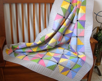 Quilted Modern Patchwork Lap Quilt - Moda Bella Solids - Pastel with Black and White