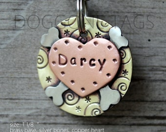 Custom pet ID tag- personalized heart metal tag for dogs- heart with bones- Darcy