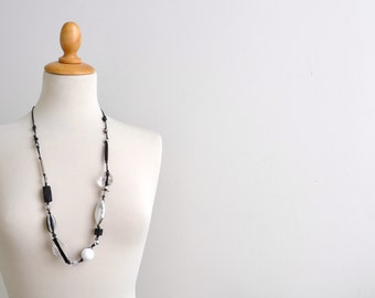 black and white long chunky large beads necklace - waxed cotton necklace - minimal artisan necklace - gift for her