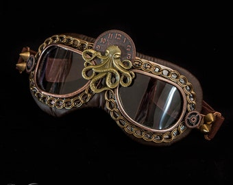 Goggles ~ Octopus Bronze Steampunk - Made To Order