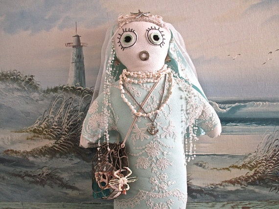 Saint Naughtycuss Patron Saint of Shell Seeking JUNKYARD Dawl-see her story below pictures by searchnrescue2 on etsy