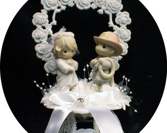 Precious Moments Adroable Firefighter Cake Topper Fireman heart Hero Fire retired