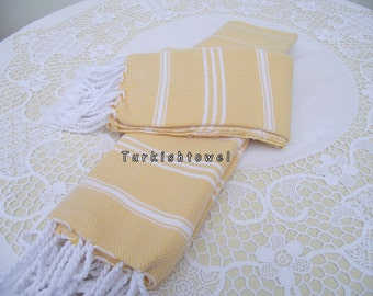 Turkishtowel-Set of 2-Hand woven peshkirs-hand,tea,dish towels-White stripes on yellow