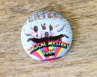1970s MAGICAL MYSTERY TOUR Button...retro. kitsch. band. ringo. john lennon. paul. george. rock and roll. we want the beatles back. flair