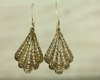 Vintage Filigree Fan Dangle Sterling Silver Earrings (ET251 )