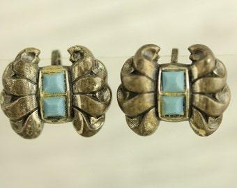 Vintage Blue Glass Bow Sterling Silver Earrings 1940's Screwback (ET261 )