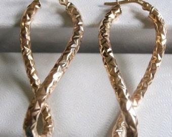 Hoops Earrings 14K Yellow Gold Length  41mm
