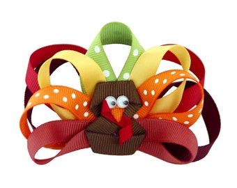Thanksgiving Turkey Hair Bow. Ribbon Turkey Bow. Turkey hair clip. Thanksgiving Turkey Hair Clip. Original design with non-slip grip.