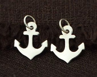 4 of 925 Sterling Silver Anchor Charms 11x12mm. :th1571