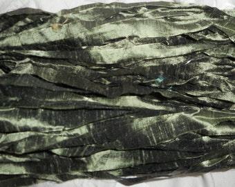 4 Yards LODEN GREEN  SHIMMER Dupioni  Silk Ribbon