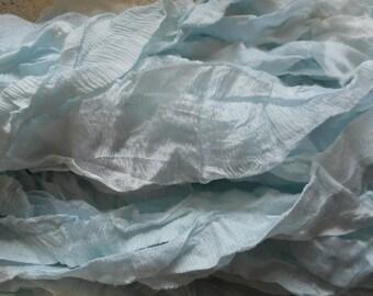 8 Yards ICED LIGHT BLUE Hand Dyed Supreme Chiffon and Silk Sari Silk Ribbon