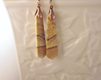 Simply Elegant Earrings of  Landscape Jasper, Semi-precious Gemstones, Shades of Brown and Tan, Mother Nature Designed on Copper