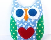 Personalized Owl Tooth Fairy Pillow - Sky Blue with Green Wings