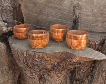 Set of 4  unique olive wood sushi dipping bowls, all carved from the same piece of olive wood