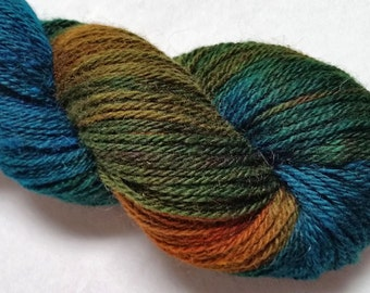 Corriedale-Silk 3 Ply- 80/20 Yarn Hand Dyed in Turquoise, Green and Orange