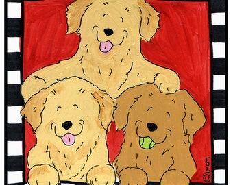 Golden Retriever Trio with Red background  T shirt