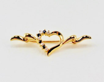 SALE 10 PERCENT OFF Vintage Gold Tone Heart Prong Set Dark Sapphire Blue Glass Stone Clear Rhinestone Banner Ribbon Goldtone Brooch Bar Pin