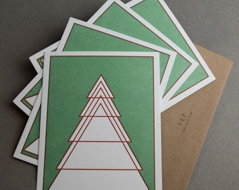 Four Geometric Evergreen Tree Flat Note Cards