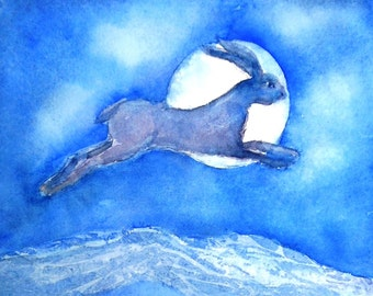 The Hare and the Moon -  watercolour painting -original.