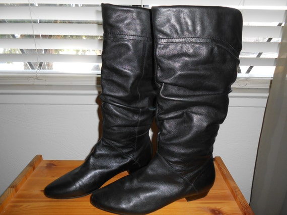vintage flat black leather scrunch boots size 39 or by