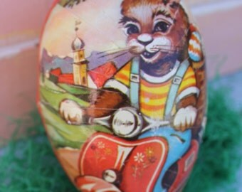 Vintage Cardboard Paper Mache Easter Egg Container, Made in Western Germany, Bunny on Motorcycle
