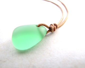 Sea Glass Necklace, Seaglass Nekclace, Green Sea Glass, Green Seaglass, Mens Necklace, Leather Necklace, Mans Necklace