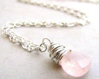 Rose Quartz Necklace Silver Pendant Pink Quartz Bridal Gemstone Pastel Pink Wire Wrapped BellinaCreations
