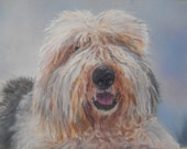 Old English Sheepdog, Pet portrait, gift for him. Reserved for customer
