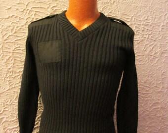 Vintage Men's Black Wool Quartermaster Brigade Sweater small England