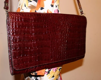 Vintage Genuine Croc Leather Clutch / Made in Italy