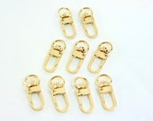 3/8 inch (10mm) inside wide - Shiny Gold Small Lobster Swivel Clasps - 20 Pieces