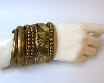 Vintage retro 1970s stack of brass boho hippie bangle cuff bracelets,hippie, free people,metal