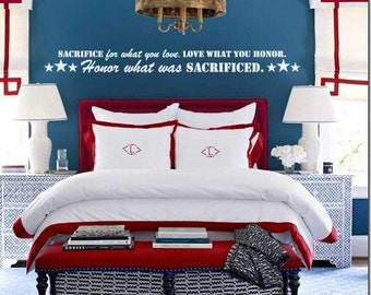 Sacrafic for what you love, love what you honor BM190 vinyl lettering sticker home decor decal wall USA patriotic sacrafic millitary quote