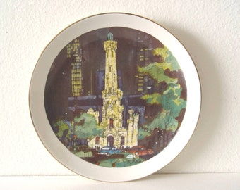 Vintage 1972 Chicago WATER TOWER  Plate ~ The Water Tower ~ Limited Edition Chicago Collection