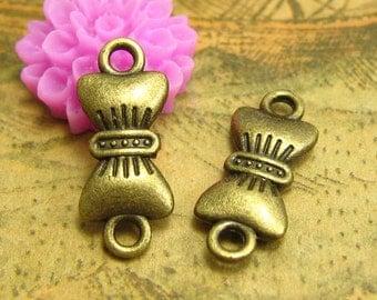 20 pcs Antique Bronze Bracelet Links Bow Tie Charms 19x8mm CH1975