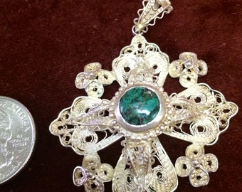 Ornate Filigree Jerusalem Cross Pendant with natural Elat stone
