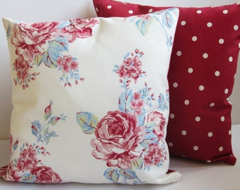 """Vintage Roses Pillow Covers,  cottage chic Cushion Covers, Red Dotty Cushion Covers, Red Polka Dot, 16 x 16"""",  Decorative Pillow Covers,"""