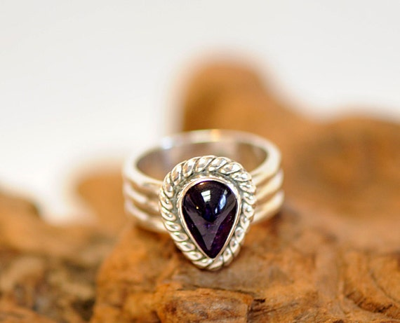 Vintage Sterling Silver 925 Teardrop Amethyst Ring W Wide Band Size 9.75 (#c36)